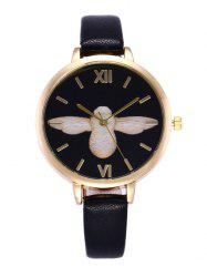 Bird Pattern Faux Leather Roman Numeral Quartz Watch