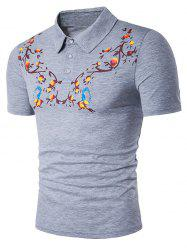 Symmetrical Floral and Bird Print Polo T-Shirt