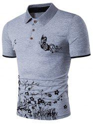 Short Sleeve Butterfly and Floral Print Polo T-Shirt