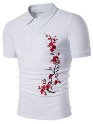 Short Sleeve Florals Embroidered Polo T-Shirt