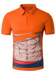 Cartoon Abdominal Muscle Print Novelty Polo T-Shirt