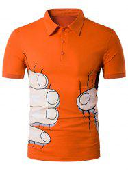 Cartoon Fingers Print Novelty Polo T-Shirt