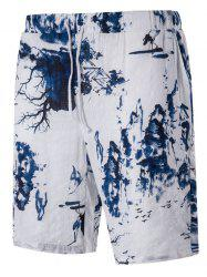 Blends Landscape Print Linen Drawstring Board Shorts