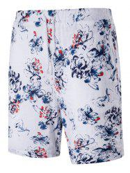 Tiny Floral Print Drawstring Linen Blends Board Shorts