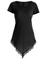 Laced Ribbed Longline T Shirt