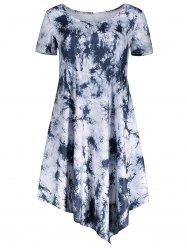 Short Sleeve Tie Dye Asymmetrical Dress -