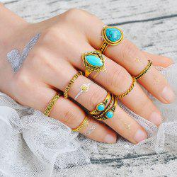 Faux Turquoise Geometric Teardrop Gypsy Ring Set - GOLDEN