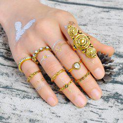 Teardrop Rhinestone Mid Finger Gypsy Ring Set