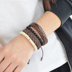 Beads Layered Braid Faux Leather Friendship Bracelets - MULTICOLOR