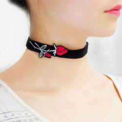 Faux Suede Rose Embroidered Choker Necklace -