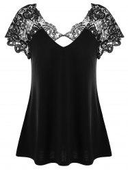 V Neck Plus Size Lace Trim Cutwork T-Shirt