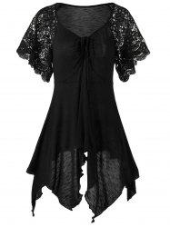 Plus Size Self Tie Flowy Handkerchief Top With Sleeves