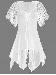 Plus Size Self Tie Flowy Handkerchief Top With Sleeves - WHITE 3XL