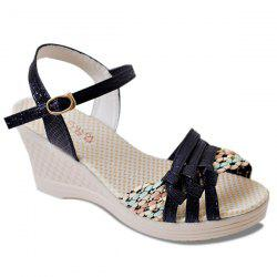 Weaving Wedge Heel Knot Sandals - BLACK