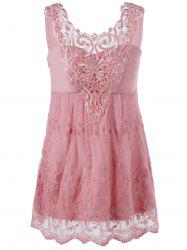 Lace Trim Empire Waist Scalloped Edge Tank Top - PINK
