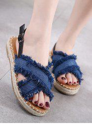 Buckle Strap Denim Sandals
