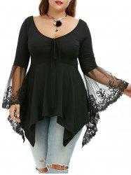 Flare Sleeve Handkerchief Plus Size Tunic Top - BLACK