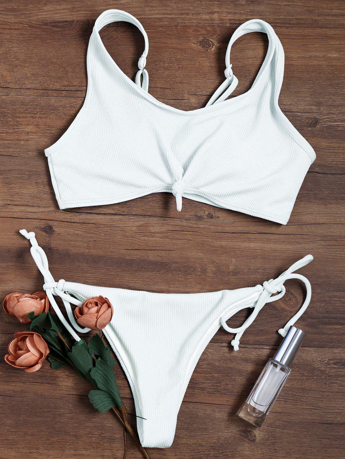 Knotted Adjustable Straps Ribbed String Bikini SwimsuitWOMEN<br><br>Size: S; Color: WHITE; Style: Sport; Swimwear Type: Bikini; Bikini Type: String Bikini; Gender: For Women; Material: Chinlon,Polyester; Bra Style: Padded; Support Type: Wire Free; Neckline: Scoop Neck; Pattern Type: Solid Color; Embellishment: Lace up; Waist: Low Waisted; Elasticity: Elastic; Weight: 0.1800kg; Package Contents: 1 x Bra  1 x Briefs;