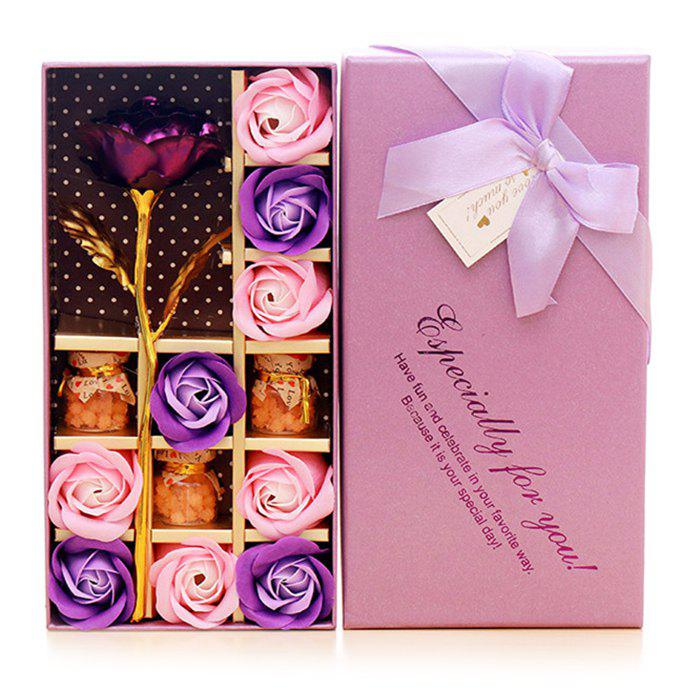Fancy Mother's Day Gift Artificial Plated Rose with Soap Flowers Gift Box