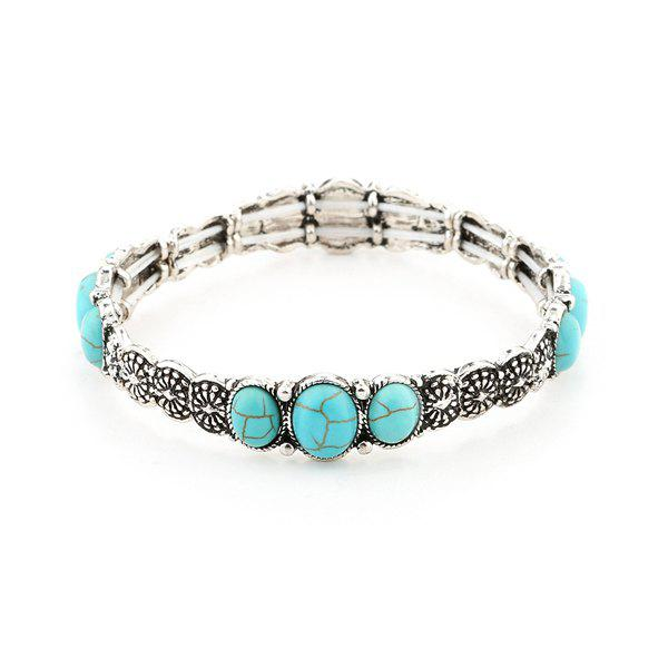 Faux Turquoise Floral Gypsy BraceletJEWELRY<br><br>Color: SILVER; Gender: For Women; Chain Type: Others; Metal Type: Alloy; Style: Trendy; Shape/Pattern: Floral; Length: 6CM; Weight: 0.0600kg; Package Contents: 1 x Bracelet;