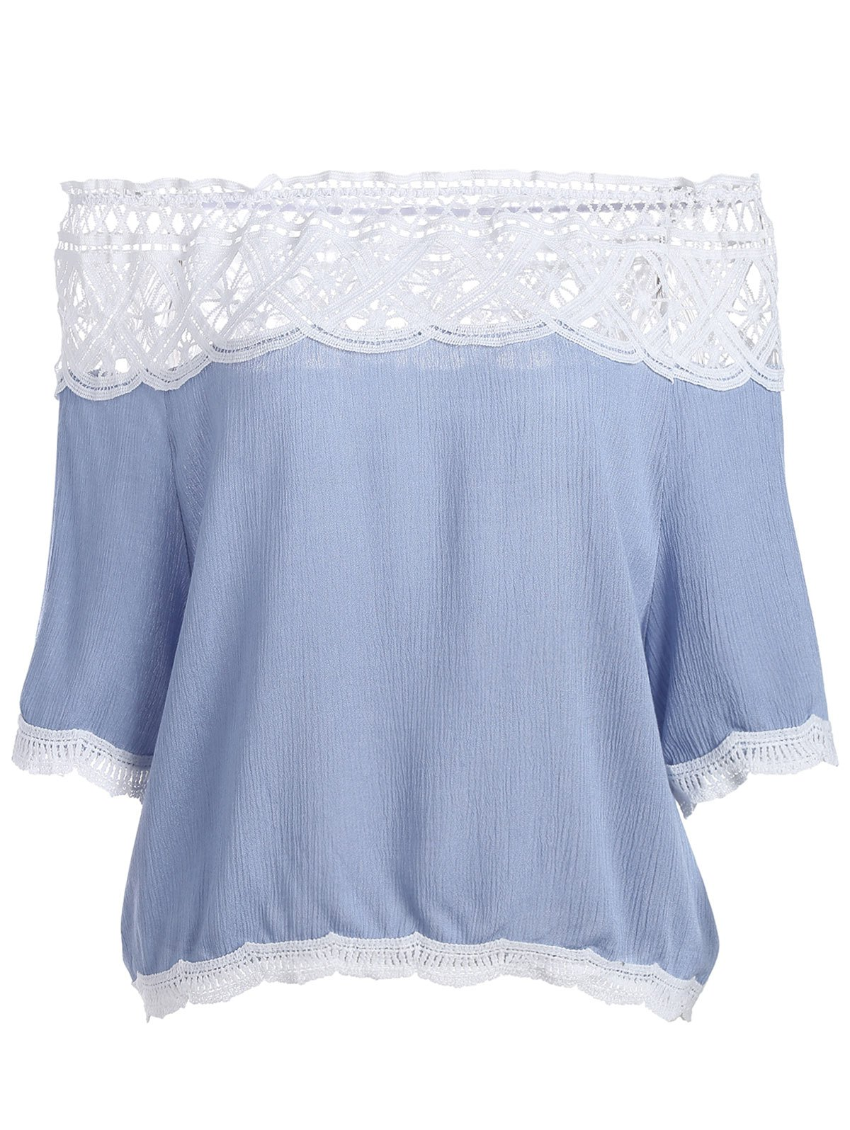 Unique Off The Shoulder Lace Trim Chiffon Blouse