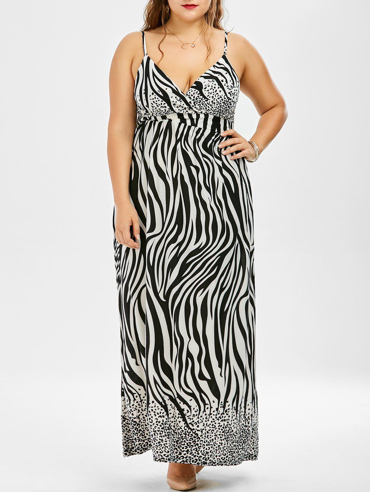 the best cost charm new release 28% OFF] Plus Size Long Zebra Print Maxi Slip Beach Dress | Rosegal