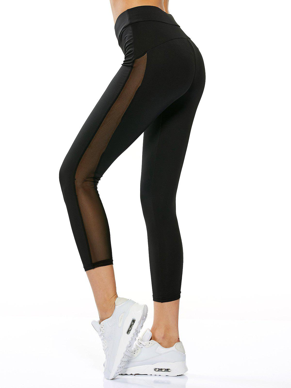 Sheer Mesh Insert Gym Running Capri LeggingsWOMEN<br><br>Size: S; Color: BLACK; Style: Active; Length: Capri; Material: Polyester,Spandex; Fit Type: Skinny; Waist Type: High; Closure Type: Elastic Waist; Front Style: Flat; Pattern Type: Solid; Pant Style: Pencil Pants; Elasticity: Elastic; Weight: 0.2700kg; Package Contents: 1 x Leggings;