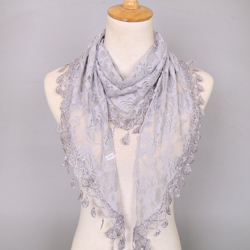 Waterdrop Embroidery Tassel Pendant Lace Triangle Rose ScarfACCESSORIES<br><br>Color: GRAY; Scarf Type: Scarf; Group: Adult; Gender: For Women; Style: Fashion; Material: Acrylic; Pattern Type: Floral; Season: Fall,Spring,Summer; Scarf Length: 148CM; Scarf Width (CM): 48CM; Weight: 0.0550kg; Package Contents: 1 x Scarf;