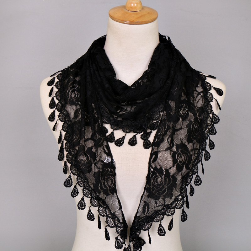 Waterdrop Embroidery Tassel Pendant Lace Triangle Rose ScarfACCESSORIES<br><br>Color: BLACK; Scarf Type: Scarf; Group: Adult; Gender: For Women; Style: Fashion; Material: Acrylic; Pattern Type: Floral; Season: Fall,Spring,Summer; Scarf Length: 148CM; Scarf Width (CM): 48CM; Weight: 0.0550kg; Package Contents: 1 x Scarf;