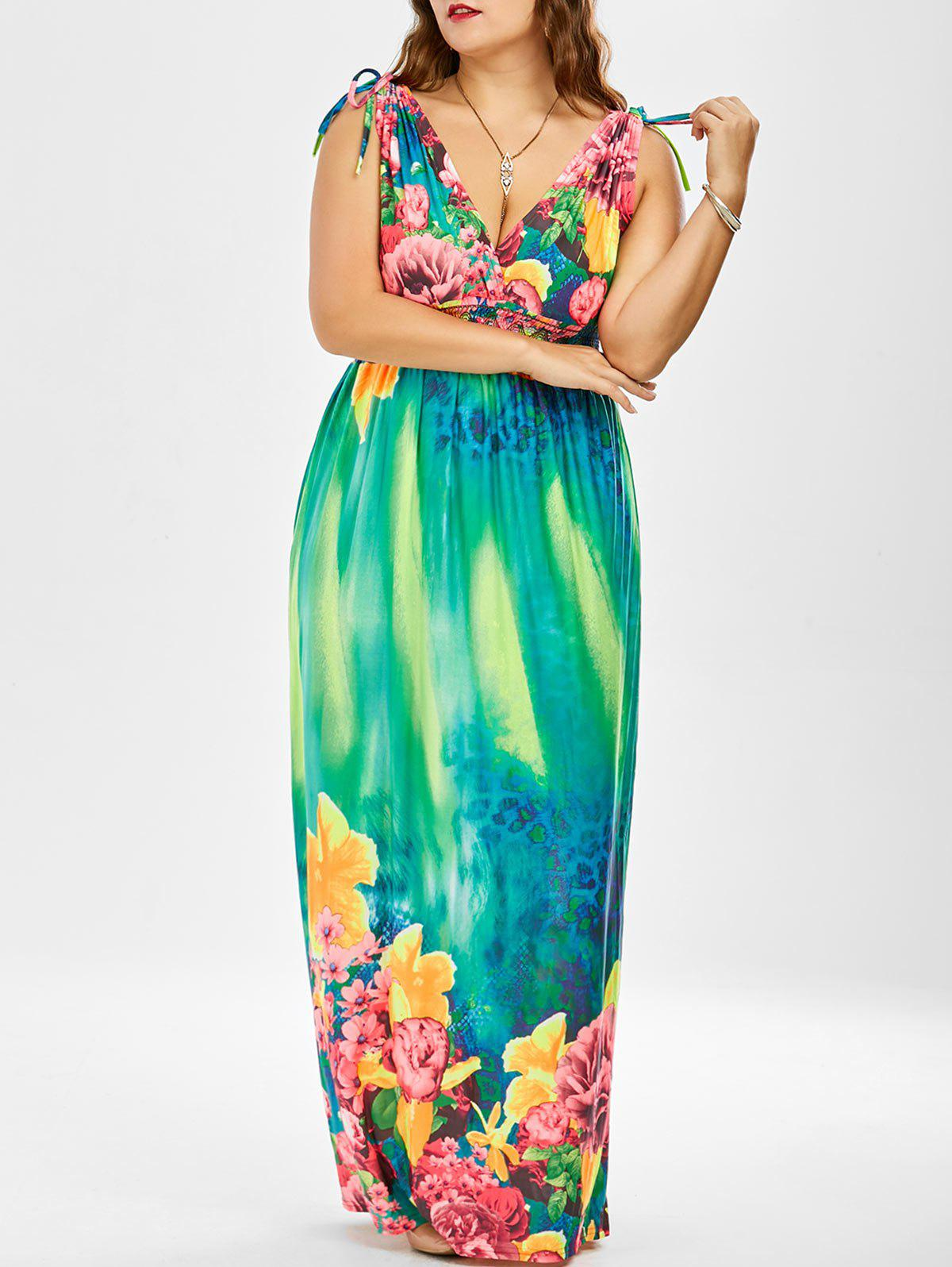 fafaf09844 22% OFF] Floral Long Maxi Beach Dress For Plus Size | Rosegal