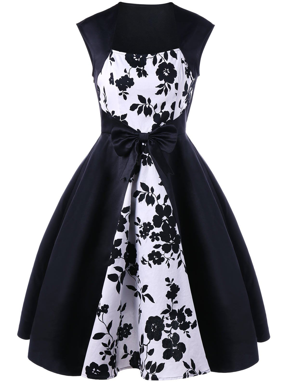 Discount Bowknot Decorated Floral 50s Swing Dress