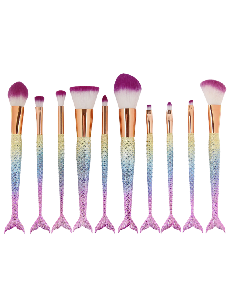 Makeup Brushes And What They Are Used For: Colorful Maange 10 Pcs Ombre Rainbow Mermaid Makeup