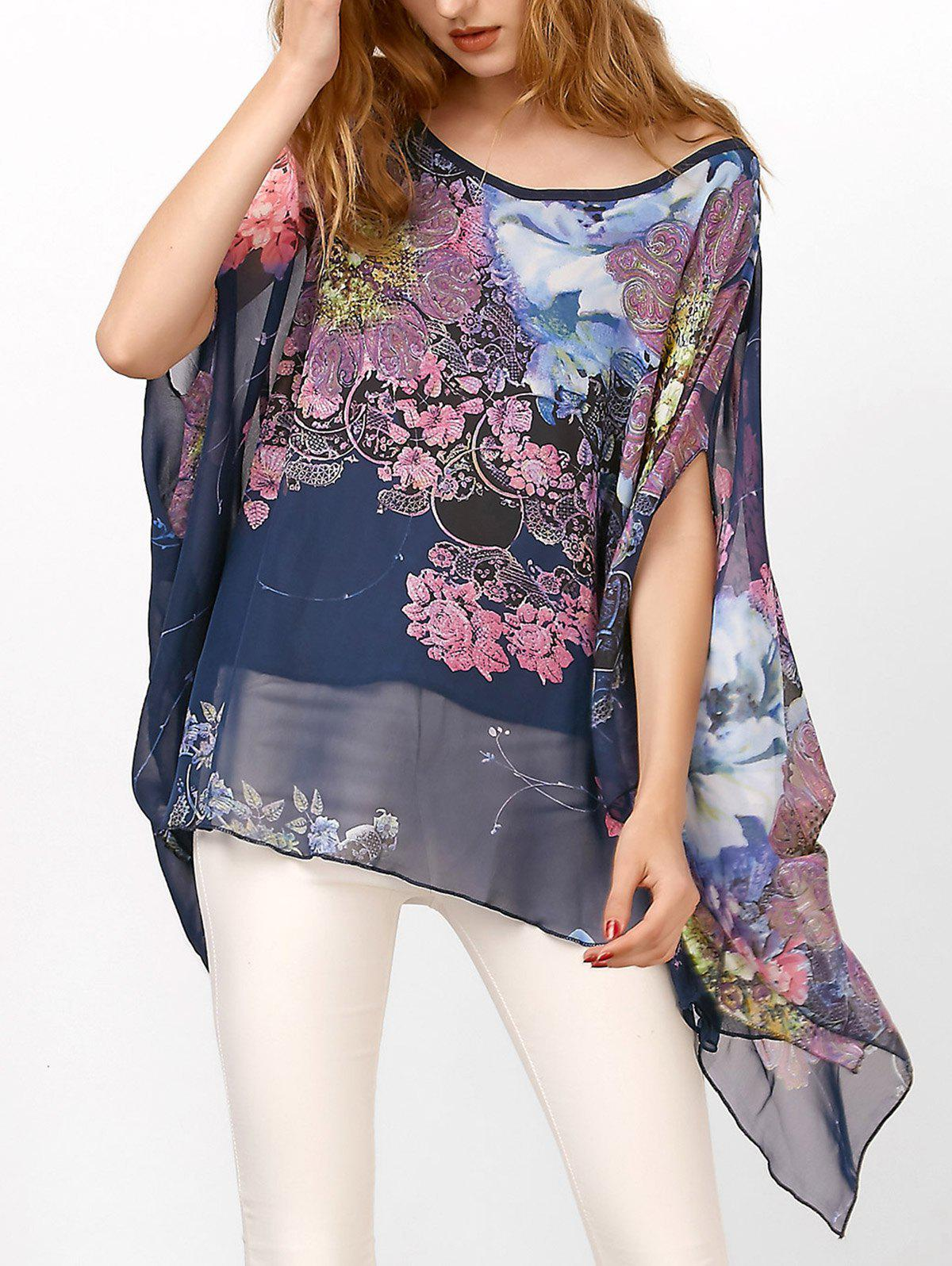 Chiffon Batwing Cape Asymmetrical Floral BlouseWOMEN<br><br>Size: ONE SIZE; Color: DEEP BLUE; Occasion: Casual; Style: Casual; Material: Polyester; Fabric Type: Chiffon; Shirt Length: Regular; Sleeve Length: Short; Sleeve Type: Batwing Sleeve; Collar: Round Neck; Pattern Type: Floral; Season: Fall,Spring,Summer; Weight: 0.2100kg; Package Contents: 1 x Blouse;