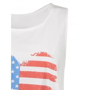 Plus Size American Flag Racerback Tank Top - WHITE 3XL
