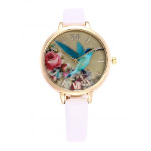 Roman Numeral Floral Bird Faux Leather Watch