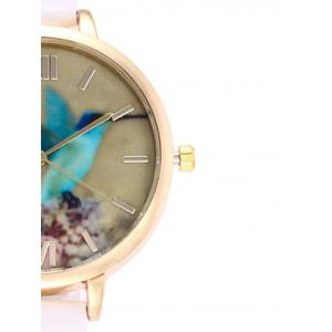 Roman Numeral Floral Bird Faux Leather Watch - WHITE