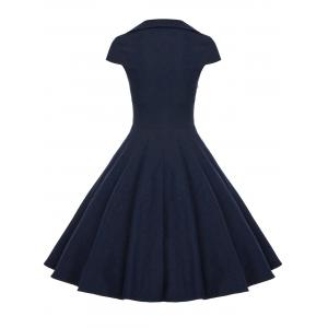 A Line Buttoned Vintage Corset Dress with Sleeves -