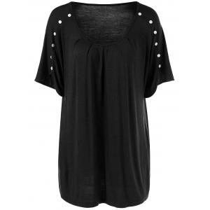 Plus Size Button Detailed Wrinkle T-Shirt