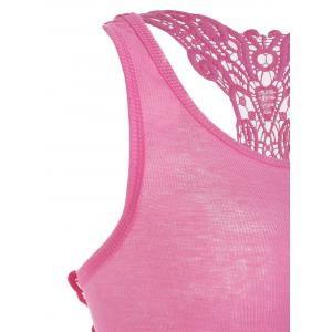Sheer Lace Insert Racerback Tank Top - LIGHT PINK ONE SIZE