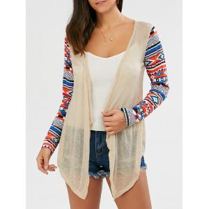 Collarless Open Front Asymmetric Cardigan - Beige - L