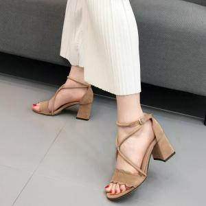 Scalloped Suede Chunky Heel Sandals - APRICOT 39