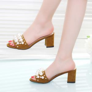 Block Heel Faux Pearls Slippers - BROWN 38