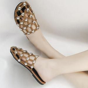 Studded PU Leather Slippers - BROWN 39