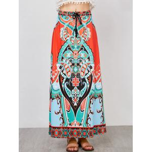 Tribal Print High Waisted Maxi Skirt