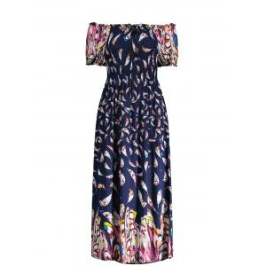 Puff Sleeve Elastic Chest Feather Print Midi Dress - Deep Blue - One Size
