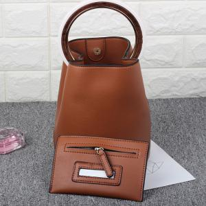 Top Handle Bucket Bag with Pouch Bag - BROWN