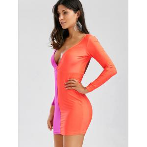 Manches longues Plongeant Breast Neck Off Stitching évider Backless Packet Fesses femmes s 'Cut Out Dress - Saumon S