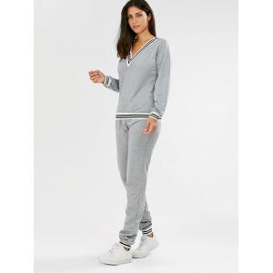 Fashionable V-Neck Long Sleeve Striped Sweatshirt + Fitted Pants Twinset For Women - GRAY S