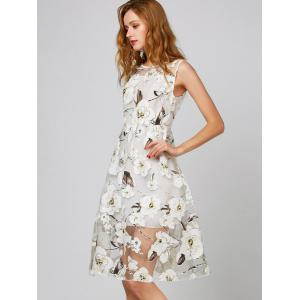 Belted Floral Print Organza Dress - WHITE S