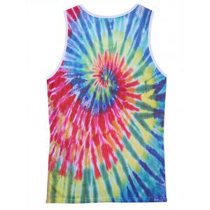 Openwork 3D Colorful Tie Dye Print Tank Top -